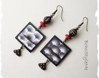 Boho Tribal Handcrafted Earrings, Black and White Bohemian Jewelry, BohoStyleMe, Modern Global Chic Jewelry
