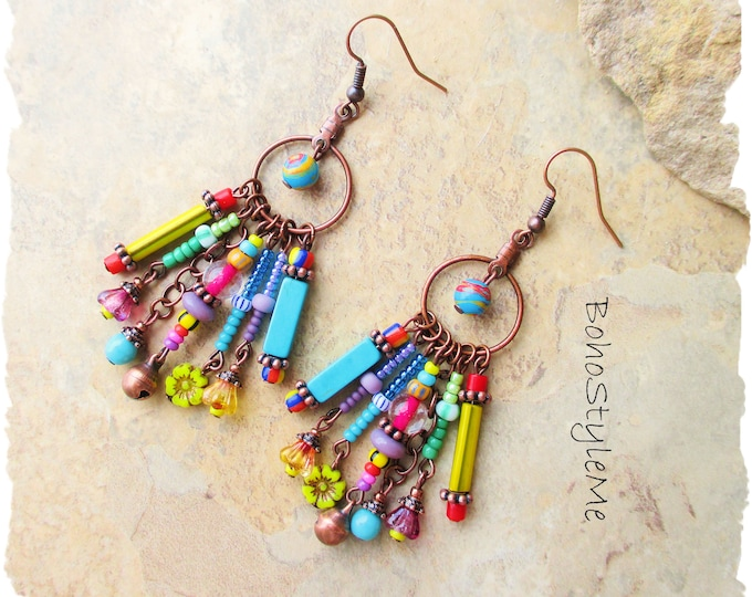Featured listing image: Boho Colorful Beaded Earrings, Bohemian Jewelry, BohoStyleMe, Handmade Boho Style Earrings, Modern Hippie Chic