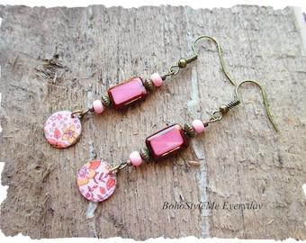 Boho Fun Playful Dangle Earrings, Bohemian Jewelry, Lightweight Pastel Dangle Earrings, Handmade Beaded Earrings