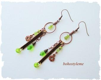 Closeout - Clearance - Final Sale -  Peridot Earrings, Boho Dangle Earrings, bohostyleme, Handmade Earrings, Bohemian