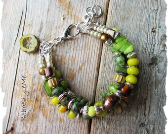 Bohemian Beaded Bracelet, BohoStyleMe, Green Nature Inspired Boho Modern Hippie Braclet, Rustic Global Chic Jewelry