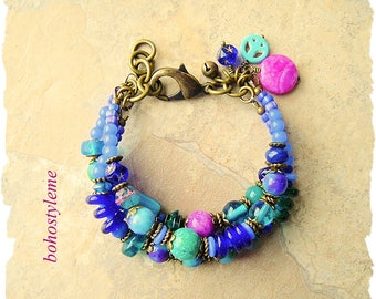 Boho Colorful Beaded Bracelet, Chunky Layered Bracelet, bohostyleme, Modern Hippie, Boho Jewelry, Kaye Kraus
