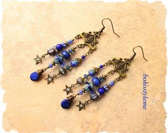 Boho Hippie Blue Earrings, Blue Twilight, bohostyleme, Beaded Statement Earrings, Bohemian Fashion, Kaye Kraus