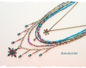 Bohemian Necklace by BohoStyleMe Jewelry, Soft Purple and Teal, Long Colorful Beaded Layer Necklace