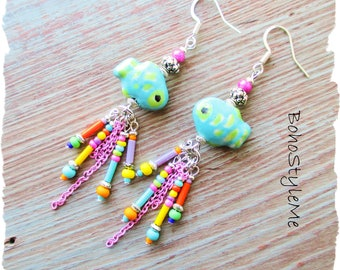 Boho Colorful Fun Whimsical Fish Earrings, BohoStyleMe, Bohemian Chic Earrings Jewelry, Modern Hippie Dangle Earrings