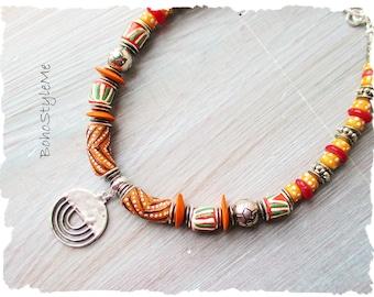 Boho Colorful African Beaded Choker Necklace, BohoStyleMe, Handmade Global Chic Necklace, Modern Hippie Bohemian Jewelry