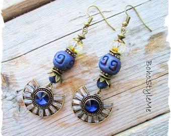 Bohemian Chic Earrings Jewelry, BohoStyleMe, Ancient Egyptian Style, Boho Blue Dangle Earrings, Modern Hippie Jewelry