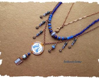 Bohemian Necklace, Handmade Copper Rabbit Pendant Necklace, Hand Painted, Asian Style, Blue, bohostyleme