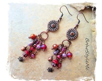 Boho Style Me Colorful Beaded Dangle Earrings, Bohemian Colors, Modern Hippie Earrings, BohoStyleMe, Assemblage Earrings