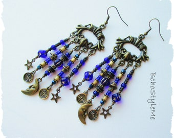 Boho Blue Moon Earrings, Bohemian Jewelry, BohoStyleMe, Man in the Moon, Chandelier Earrings, Beaded Assemblage Earrings