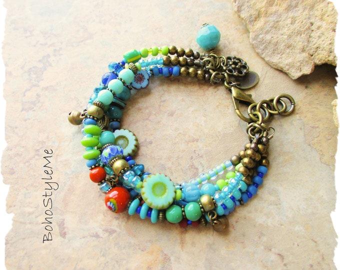 Featured listing image: Boho Colorful Fun Blue Green Beaded Flower Bracelet, Bohemian Jewelry, BohoStyleMe, Handmade Modern Hippie Chic Jewelry