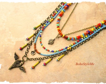 Bohemian Necklace, BohoStyleMe, Flying Heart Pendant Necklace, Modern Hippie, Colorful Boho Style Fashion, Kaye Kraus
