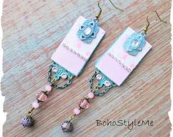 Boho Shabby Chic Style Romantic Dangle Earrings, Bohemian Jewelry, BohoStyleMe, Handmade Pink Rose Assemblage Earrings