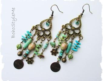 Boho Chandelier Earrings, BohoStyleMe, Handmade Bohemian Jewelry Earrings, Turquoise Blue Green Earrings, Modern Hippie Earrings