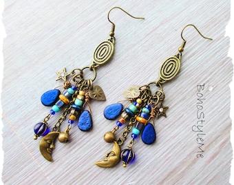 Boho Blue Celestial Dangle Earrings, Bohemian Jewelry, BohoStyleMe, Twilight Blue Beaded Earrings, Modern Hippie