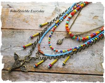 Colorful Beaded Bohemian Necklace, BohoStyleMe, Boho Southwestern Fashion, Winged Heart Pendant Necklace