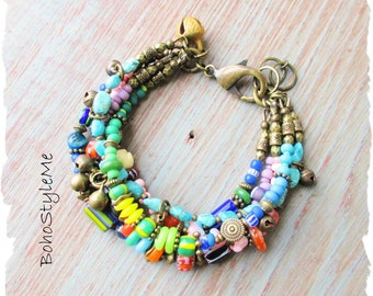 Boho Colorful Tribal Handmade Fun Beaded Bracelet, BohoStyleMe, Bohemian Jewelry, Modern Hippie Bracelet, Global Chic Jewelry