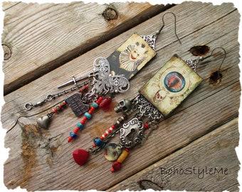 Scary Creepy Halloween Clown Earrings, BohoStyleMe, Long Asymmetrical Assemblage Earrings, Gothic Oddities  Curiosities