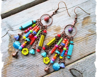 Bohemian Jewelry, BohoStyleMe, Boho Colorful Dangle Earrings, Fun Beaded Earrings, Modern Hippie Fashion Jewelry