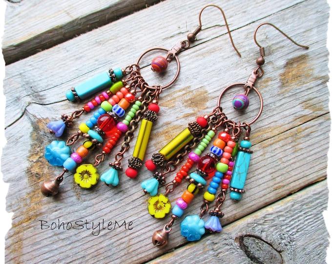 Featured listing image: Bohemian Jewelry, BohoStyleMe, Boho Colorful Dangle Earrings, Fun Beaded Earrings, Modern Hippie Fashion Jewelry