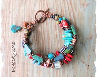 Rustic Boho Tribal Beaded Layer Bracelet, Bohemian Jewelry, BohoStyleMe, Modern Hippie Natural Mixed Stone Bracelet
