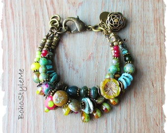 Bohemian Jewelry, BohoStyleMe, Green Stone Glass Earthy Beaded Global Chic Hippie Style Bracelet, Boho Bracelet