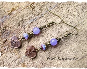Nature Inspired Earrings, Dangle Earrings, Handmade Earrings, Light Purple Stone Earrings, Leaf Charm Earrings