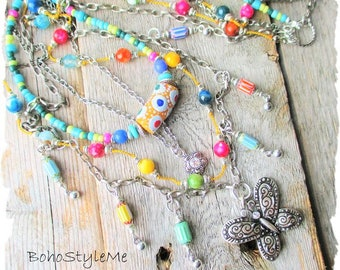 Modern Hippie Gypsy Beaded Necklace Jewelry, BohoStyleMe, Bohemian Chic Beaded Layer Necklace, Hand Knotted Necklace