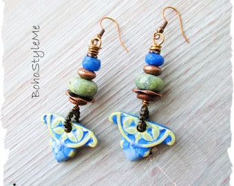 Bohemian Jewelry, BohoStyleMe, Handmade Artisan Pottery, Chunky Stone Earrings, Rustic Boho Style Dangle Earrings