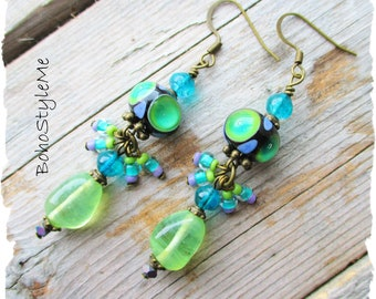 Bohemian Lampwork Glass Dangle Earrings, BohoStyleMe, Colorful Artisan Earrings, Modern Hippie Jewelry, Boho Fashion