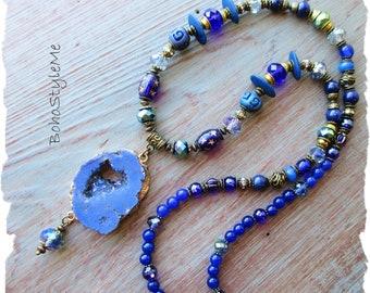 Bohemian Necklace, Blue Gemstone Necklace, BohoStyleMe, Blue Crystal Druzy Necklace, Unique Handmade Jewelry