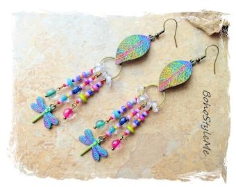 Boho Colorful Fun Beaded Dragonfly Earrings, Bohemian Jewelry, BohoStyleMe, Hand Painted Boho Style Earrings, Modern Hippie