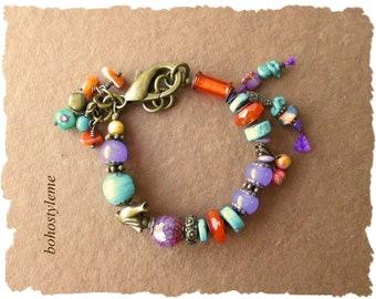 Bohemian Jewelry, bohostyleme, Colorful Handmade Bracelet, Boho Beaded Bracelet, Modern Hippie, Kaye Kraus