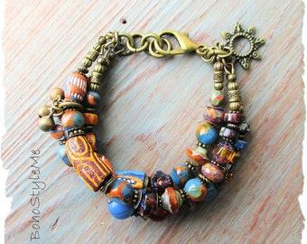 Rustic Boho African Tribal Bracelet, Bohemian Jewelry, BohoStyleMe, Free Style Modern Hippie Jewelry, Global Chic Jewelry