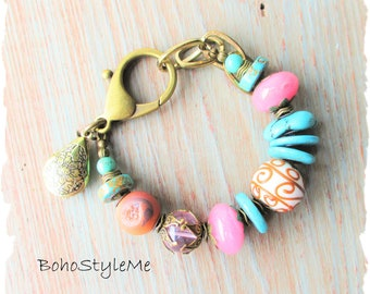 Boho Rustic Glamour Turquoise Pink Chunky Beaded Bracelet, BohoStyleMe, Bohemian Jewelry, Modern Hippie Jewelry