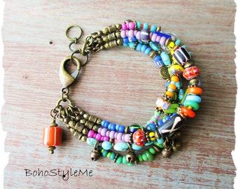 Boho Colorful Fun Beaded Bracelet, BohoStyleMe, Bohemian Jewelry, Free Style Modern Hippie Bracelet, Mixed Colors