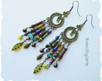 Boho Style Earrings, Bohemian Jewelry, BohoStyleMe, Long Colorful Beaded Earrings, Rustic Tribal Earrings, Chandelier Earrings