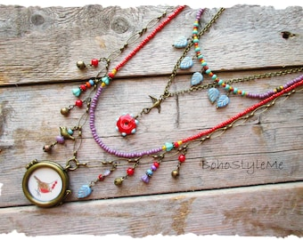 Colorful Handmade Bohemian Necklace, Whimsical Party Bird Necklace, BohoStyleMe, Bird Lover, Boho Fun Beaded Necklace