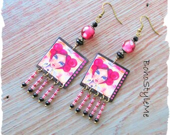 Boho Fun Colorful Earrings, BohoStyleMe, Girl With Pink Hair, Handmade Artisan Earrings, Unique Beaded Earrings