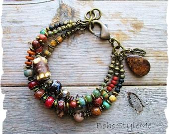 Handcrafted Bohemian Bracelet, BohoStyleMe Jewelry, Rustic Stone Bracelet, Mixed Colors, Boho Southwest Jewelry
