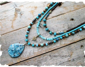 Boho Semi-Precious Stone Necklace, BohoStyleMe, Rustic Stone Bracelet, Blue Turquoise Colors, Bohemian Jewelry