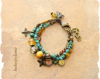 Closeout - Clearance - Final Sale - Bohemian Jewelry, bohostyleme, Nature Inspired Bee Bracelet, Boho Gypsy Hippie