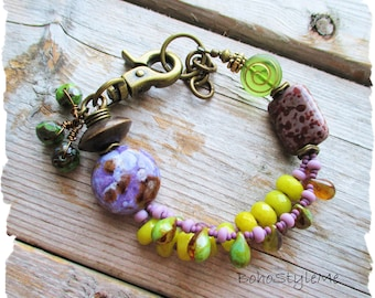 Bohemian Chic Beaded Bracelet, BohoStyleMe, Green and Purple, Handmade Bold Boho Jewelry, Modern Hippie Jewelry