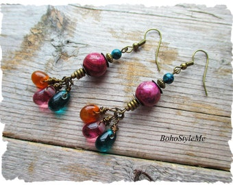 Boho Handmade Wire Wrapped Earrings, BohoStyleMe, Colorful Bohemian Dangle and Drop Earrings, Artsy Earrings
