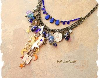 OOAK Statement Bold Modernist Celestial Necklace, Twilight Time, Bohemian Art Jewelry, bohostyleme, Kaye Kraus