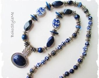 Bohemian Blue Lapis Gemstone Beaded Necklace, BohoStyleMe, Scandinavian Jewelry, Nordic Art Jewelry, Global Chic