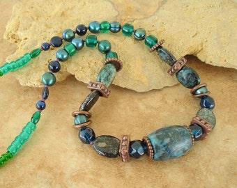 Closeout, Clearance, Final Sale, Boho Necklace, Rustic Stone Choker, Bohemian Necklace, Primitive, Santa Fe
