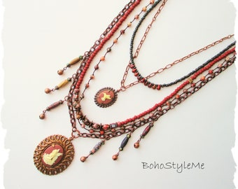 Bohemian Jewelry, Fairy Necklace, BohoStyleMe, Long Beaded Necklace, Tiered Cameo Necklace, Modern Hippie Jewelry