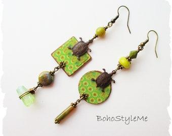 Boho Style Handcrafted Green Turtle Earrings, BohoStyleMe, Nature Inspired Asymmetrical Earrings, Mixed Media Jewelry