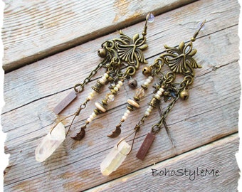 Bohemian Wedding Jewelry, BohoStyleMe, Boho Bridal Jewelry, Victorian Style Assemblage Earrings, Modern Hippie